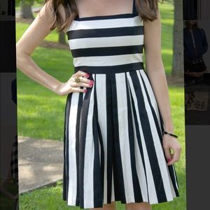Loft Black and White Striped Dress